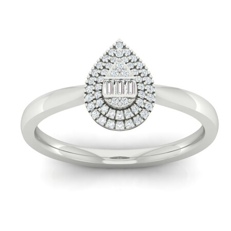Cluster Ring with 0.15 Carat TW of Diamonds in 10ct White Gold