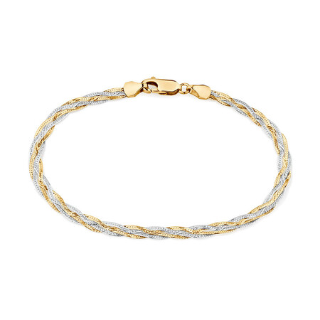 "19cm (7.5"") Fancy Bracelet in 10ct Yellow & White Gold"