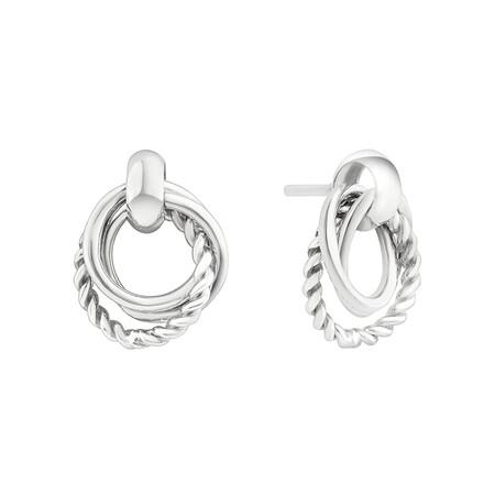 Triple Circle Stud Earrings In Sterling Silver
