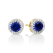 Stud Earrings with Created Sapphire & 0.18 Carat TW of Diamonds in 10ct Yellow Gold