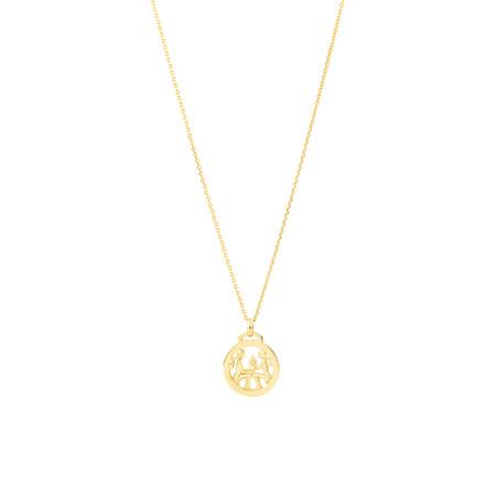 Gemini Zodiac Pendant with Chain in 10ct Yellow Gold