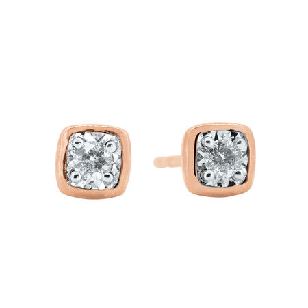 Earrings with Diamonds in 10ct Rose Gold