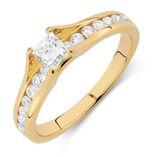 Engagement Ring with 0.70 Carat TW of Diamonds in 18ct Yellow Gold