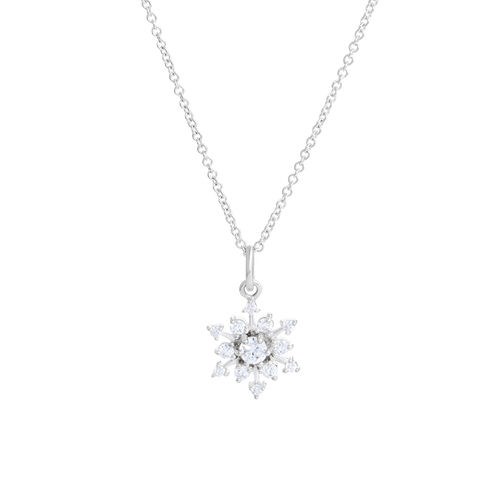 Snowflake Pendant with Cubic Zirconia in Sterling Silver