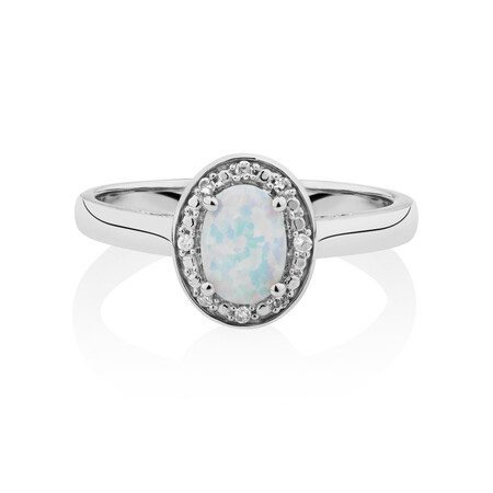 Halo Ring with Created Opal & Diamonds in Sterling Silver