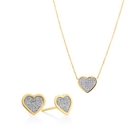 Heart Necklace and Glitter Earrings Set in 10ct Yellow Gold