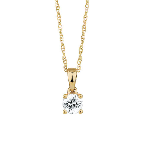 Solitaire Pendant with a 1/4 Carat Diamond in 18ct Yellow Gold