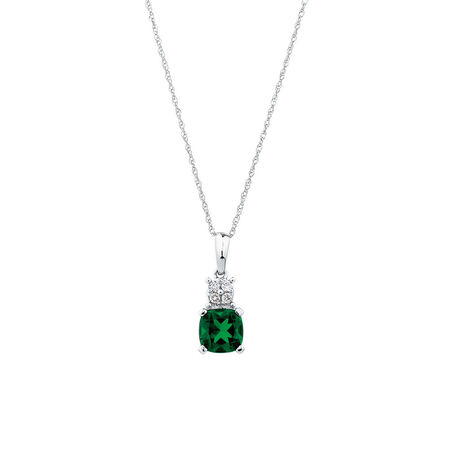 Pendant with Diamonds & Created Emerald in 10ct White Gold