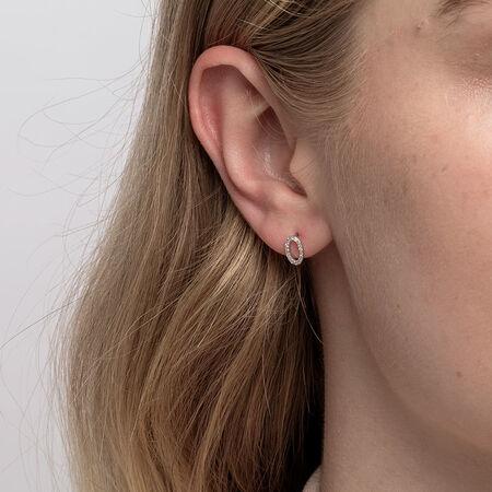 Oval Stud Earrings with Diamonds in Sterling Silver