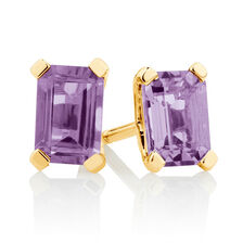 Stud Earrings with Amethyst in 10ct Yellow Gold