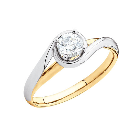 Solitaire Engagement Ring with a 0.40 Carat Diamond in 14ct Yellow & White Gold