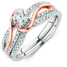 Bridal Set with 3/4 Carat TW of Diamonds in 14ct White & Rose Gold