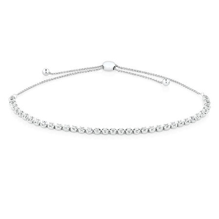 Adjustable Tennis Bracelet with 1/2 Carat TW Diamonds in 10ct White Gold