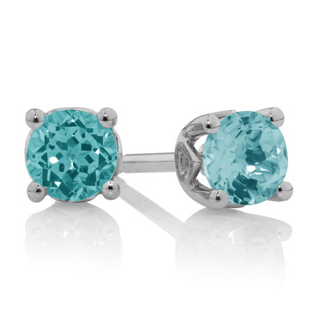 Stud Earrings With Aquamarine In 10ct White Gold