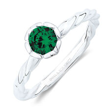 May Stacker Ring with Dark Green Cubic Zirconia in Sterling Silver