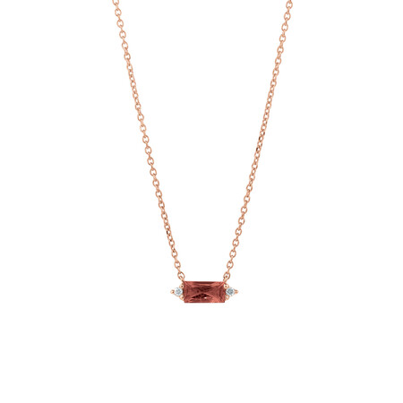 Pendant with Diamonds & Pink Tourmaline in 10ct Rose Gold