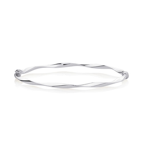 Oval Bangle in 10ct White Gold