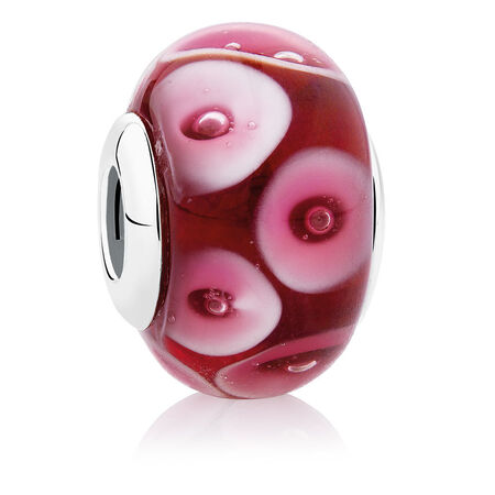 Spot Charm with Red & White Glass in Sterling Silver