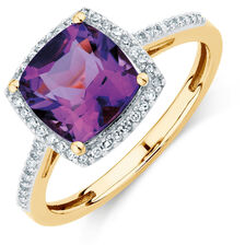 Online Exclusive - Ring with Amethyst & 0.15 Carat TW of Diamonds in 10ct Yellow Gold
