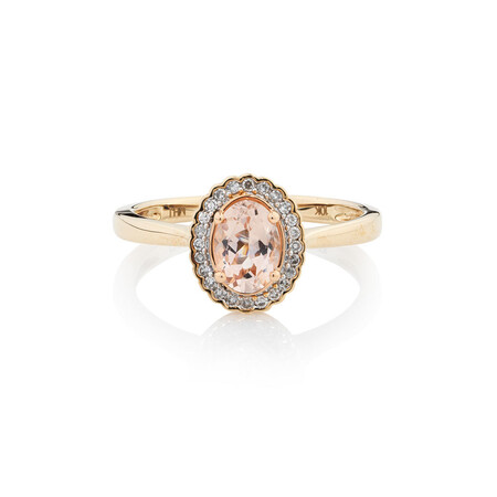 Online Exclusive - Ring with Diamonds & Morganite in 10ct Yellow Gold