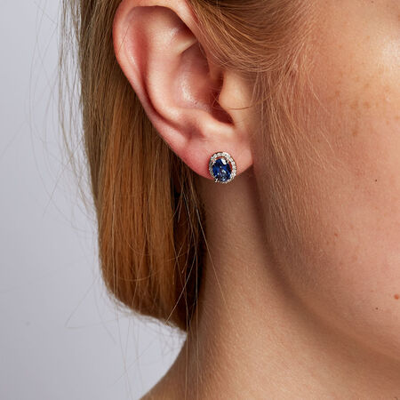Stud Earrings with Created Sapphire & 0.16 Carat TW of Diamonds in 10ct Yellow & White Gold