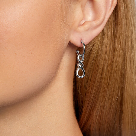 Loop Drop Loop Earrings In Sterling Silver