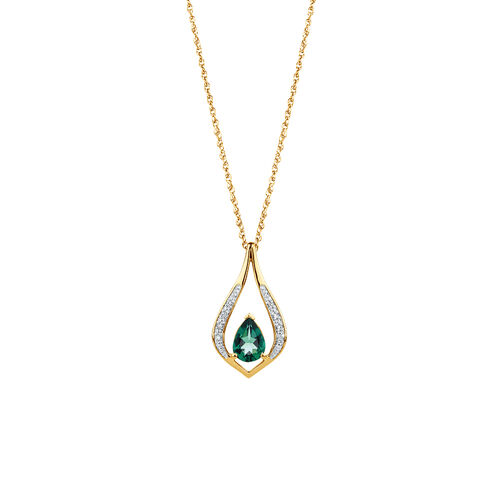 Created Emerald & Diamond Pendant in 10ct Yellow Gold