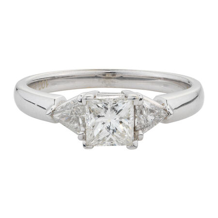Online Exclusive - Three Stone Engagement Ring with 1 Carat TW of Diamonds in 14ct White Gold