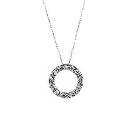 Circle Pendant with 0.50 Carat TW of Diamonds in 10ct White Gold