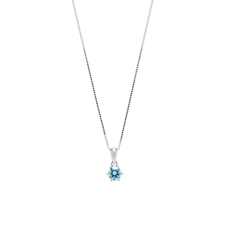 Circle Pendant with Aqua Cubic Zirconia in Sterling Silver
