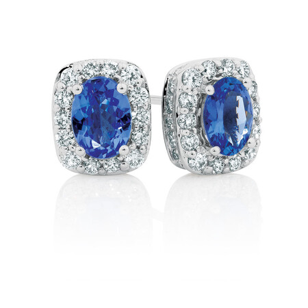 Stud Earrings with Tanzanite & 3/4 Carat TW of Diamonds in 14ct White Gold