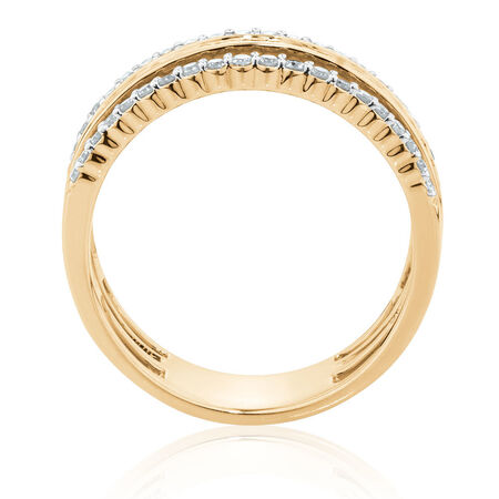 3 Tier Ring with 0.4 Carat TW of Diamonds in 10ct Yellow Gold