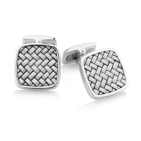 Square Cross Weave Cufflinks in Sterling Silver