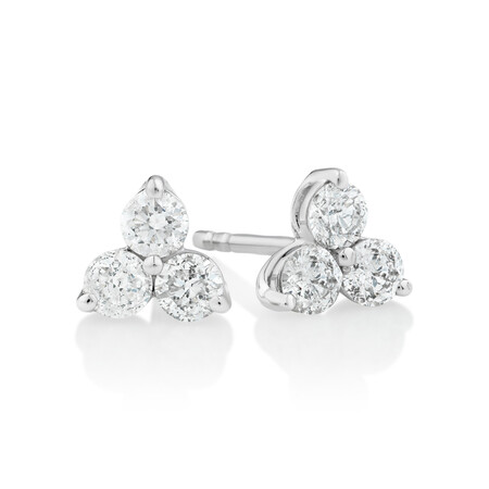 Stud Earrings with 0.50 Carat TW Of Diamonds in 10ct White Gold