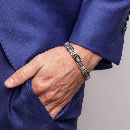Men's Weave Pattern Bracelet in 925 Sterling Silver