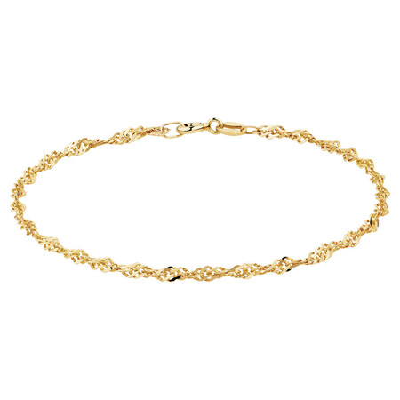 "21cm (8"") Singapore Bracelet in 10ct Yellow Gold"