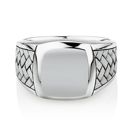 Patterned Signet Ring In Sterling Silver