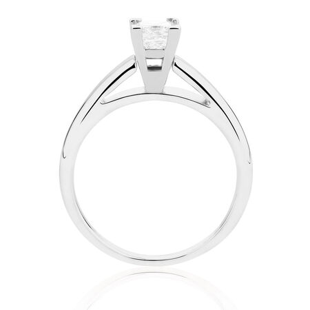 Certified Solitaire Engagement Ring with a 0.45 Carat Diamond in 14ct White Gold