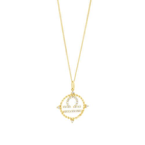 Libra Zodiac Pendant with 0.20 Carat TW of Diamonds in 10ct Yellow Gold