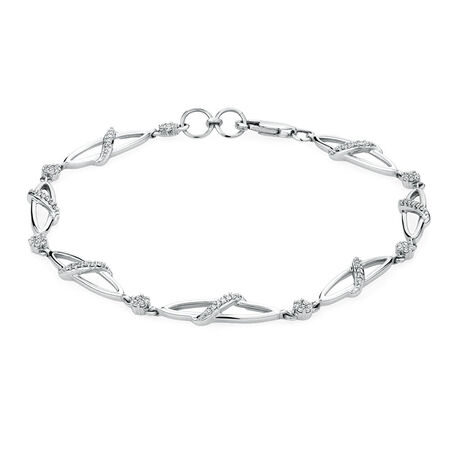 Online Exclusive - Tennis Bracelet with 0.28 Carat TW of Diamonds in 10ct White Gold