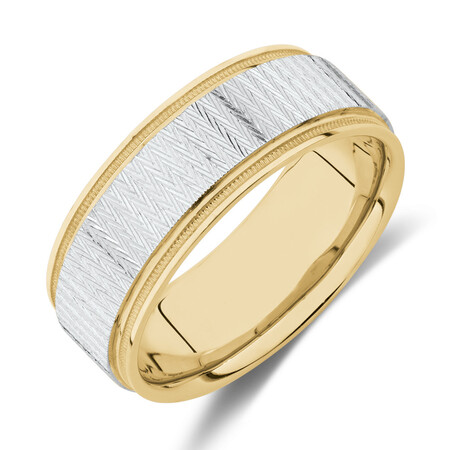 8mm Patterned Ring in 10ct Yellow & White Gold