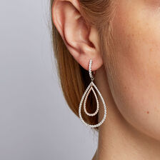 Drop Earrings with 2 Carat TW of Diamonds in White & Rose Gold