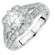 Engagement Ring with 1.45 Carat TW of Diamonds in 14ct White Gold