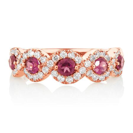 Ring with 0.46 Carat TW of Diamonds & Rhodolite Garnet in 14ct Rose Gold