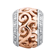 Diamond Set, 10ct Rose Gold & Sterling Silver Filigree Charm