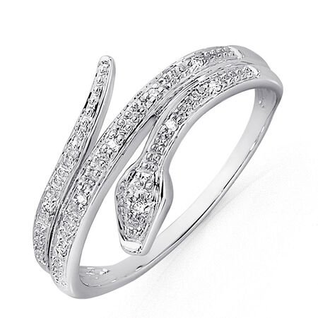 Snake Ring with Diamonds in 10ct White Gold