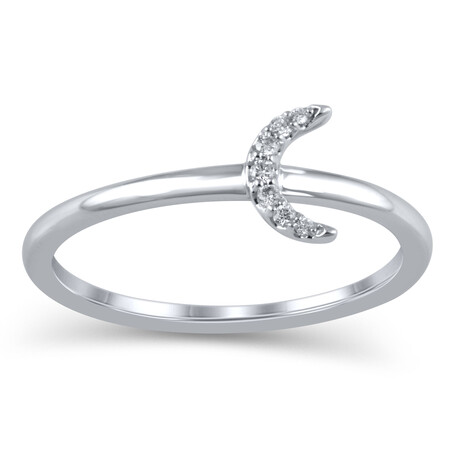 Half Moon Ring in 10ct White Gold