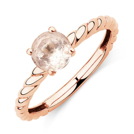Stacker Rings with Morganite in 10ct Rose Gold