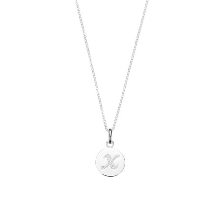 X Initial Pendant with Cubic Zirconia in Sterling Silver