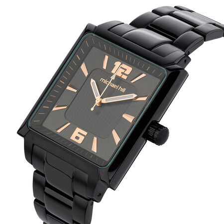 Men's Watch in Black PVD Plated & Rose Tone Stainless Steel